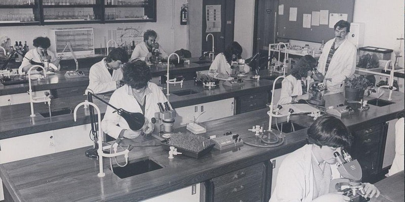 vintage shot of people learning in a science lab